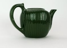 Fraunfelter Pottery Green Ribbed Teapot Vintage by GBCsLegacies