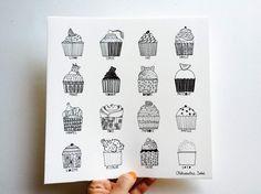 Nous sommes invités pour la fête de 5 ans de Valentina, elle adore de confectionner les petits gâteaux, ce dessin est donc fait exprès pour elle: Encre de chine, Format 22x22cm, Papier 300g/m2, All rights reserved Aleksandra Sobol 2015