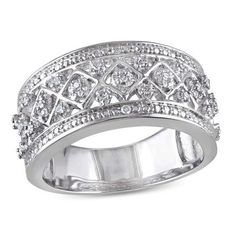 #Zales - #Delmar 1/8 CT. T.w. Diamond Quilt Pattern Ring in Sterling Silver - AdoreWe.com