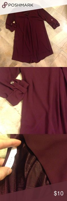 Lush XS dress Color is Bordeaux - rich purple / red. 3/4 length sleeves. Tunic length. From Nordstroms Lush Dresses Mini