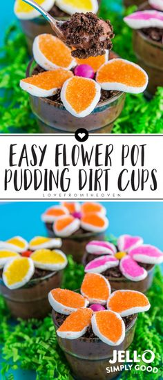 Flower pot dirt cups are a cute and quick easy spring dessert recipe, perfect for Easter or Mother's Day. Made with @Jello Simply Good pudding! #ad