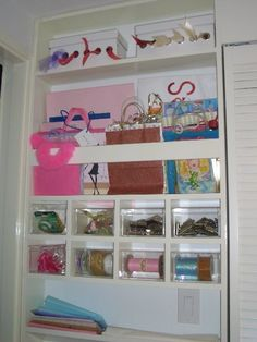 This was a neat idea for a seldom used guest closet that multi-functions as a gift wrap area.