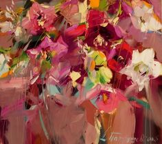 Flower Artwork, Abstract Flowers, Colorful Flowers, Flower Prints, Flower Colors, Abstract Art, Paintings I Love, Floral Paintings, Oil Paintings