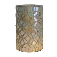 This hand finished, glass and ceramic ivory table lamp is designed in a cylindrical shape and is embellished with an all over pearl mosaic pattern....