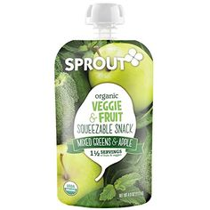 Sprout Organic Foods, Squeezable Snacks, Mixed Greens