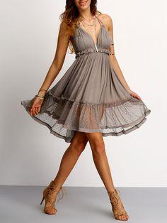 Shop Coffee Halter Neck Lace Ruffled Hem Dress online. SheIn offers Coffee…