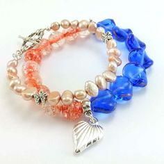 Zestaw bransoletki brzoskwinia i kobalt z perłami naturalnymi Charmed, Bracelets, Jewelry, Fashion, Bangle Bracelets, Jewellery Making, Moda, Jewerly, Jewelery