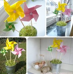 DIY Easter Fabric Pinwheels | Shelterness