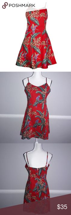 Paradise Found jungle bird rd cotton Hawaiian dres This is a casual spaghetti strap dress.  Paradise found jungle bird red cotton Hawaiian dress. Pre owned. Excellent condition.   Dress Type  Short Slip   DressFeature  Adjustable bra straps, Zipper on the back, Flare skirt Brand Paradise Found Please note that, for this manufacturer, the sewing is high-class and the fabric is top quality in Hawaii.  SizeBust 38 Waist 36 Length 33   100% cotton Machine wash cold water Paradise Found Dresses…