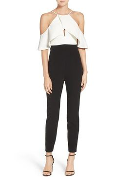 Bardot Marlee Cold Shoulder Colorblock Jumpsuit available at #Nordstrom