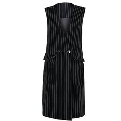 Black V-neck Stripe Print Double Breasted Longline Waistcoat (€52) ❤ liked on Polyvore featuring outerwear, vests, double breasted waistcoat, v-neck vest, v neck vest, long line vest and striped vest