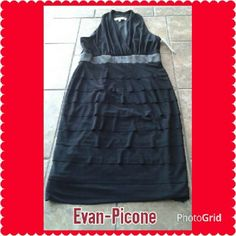 Little Black Dress Layered bottom satin waistband with a sexy high cut shoulder back and plunging v front line.  This beauty is fully lined with a side zipper for closure. Evan-Picone  Dresses