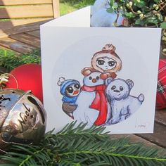 Cute Christmas cards set of 4 Watecolour by SproutymouseDoodles
