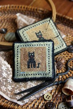 Le Meow (a Faithfully Reproduced Antique Pincushion) Cross Stitch Pattern on Etsy, $10.00