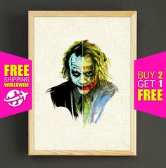 Joker Watercolor Art Print Batman Dark Knight Poster House Wear Wall Art Decor Gift Linen Fabric Print - FREE SHIPPING - 216s2g