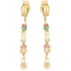 Natasha Collis sapphire and emerald drop earrings ($839) ❤ liked on Polyvore featuring jewelry, earrings, metallic, tri color earrings, colorful earrings, post earrings, multi color sapphire earrings and multicolor earrings