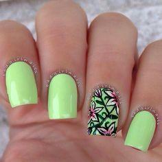 Neon green floral summer nail art design