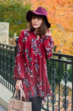 outfit // be mine - animal arithmetic  YOINS longline duster coat // Shein wine red long sleeve floral dress // SheIn wine red casual round oversize hat // ZARA pink bag // POUSTOVIT for Braska black leather boots - See more at: http://www.animalarithmeticblog.com/2015/11/outfit-be-mine.html