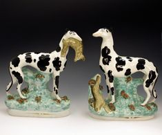 Staffordshire pottery figures of greyhounds