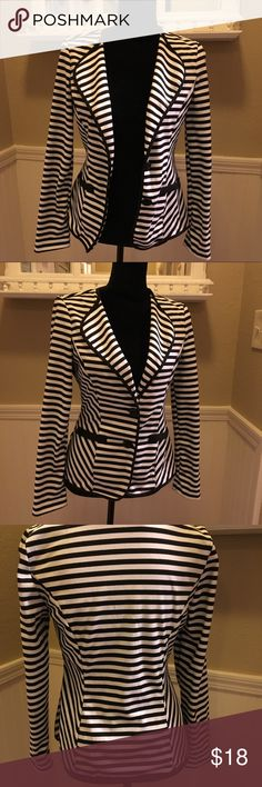 Black and White Stripped Blazer Gently used black and white blazer. Adds a pop to any closet! Slim fit with stretch. Non-smoking home. Timing Jackets & Coats Blazers