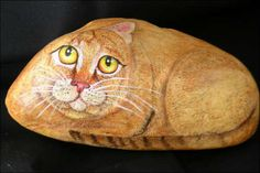 """""""Painted pet rocks"""" - river rocks - prime with gesso - acrylic paint - gloss medium"""
