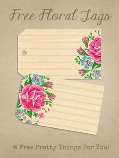 Printable Labels: Pretty Floral Tags - Free Pretty Things For You