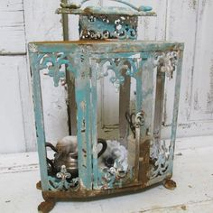 Rusty display showcase painted sea glass aqua shabby chic observation box beach cottage home decor  Anita Spero.