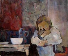 BENEDICTE GARNIER FIHEY Huile sur toile. Portrait d'enfant.