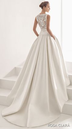 BELLA BRIDESMAIDS HOUSTON rosa clara 2017 bridal sleeveless bateau neckline simple clean drop waist ball gown wedding dress with pockets cover lace back chapel train (nao) bv -- Rosa Clará 2017 Bridal Collection