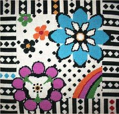 Flowers Tapestry Needlepoint Kit - Black & White AB/BW