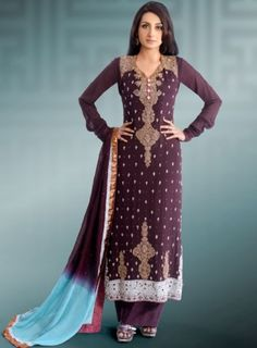 Buy pakistani dresses in usa   Party Dress with Embroidery around Shoulders and Neck