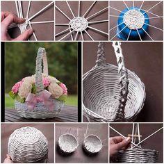 DIY Newspaper Tubes Weaving Basket  https://www.facebook.com/icreativeideas