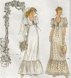Simplicity dress patterns | Simplicity 8945 Retro Wedding Dress PATTERN 70's Gunne Sax Style
