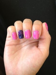 Pink and purple nails with some dots