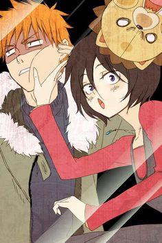 Bleach: Rukia Kuchiki, Kurosaki Ichigo and Kon Kon Bleach, Rukia Bleach, Anime Bleach, Bleach Fanart, Manga Anime, Got Anime, Anime Love, Anime Art, Bleach Characters