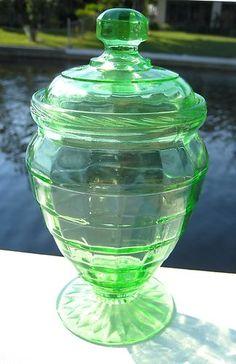 Green Depression Glass Block Optic Tall Candy Dish   eBay
