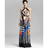 Twelfth Street by Cynthia Vincent Maxi Dress - Mixed Print Silk