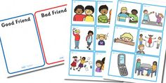 A lovely set of cards to encourge circle time discussion about friendship. Preschool Friendship, Friendship Theme, Friend Friendship, Visual Learning, Learning Process, Bad Friends, Cards For Friends, Teaching Kids, Kids Learning