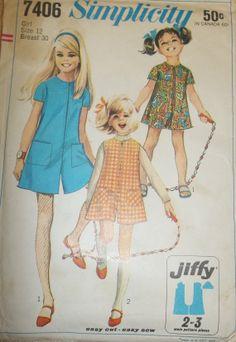 Vintage Simplicity 7406 Childs' girls' pant dress by Bigwheel179, $2.00