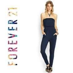 "Forever 21 Navy Blue Strapless Jumpsuit Easy style! You can wear this jumpsuit year round! It pairs up nicely w/cardigans & scarves for the chilly Autumn/Winter months & keeps you cool on the beach during summer vacation or Spring picnics. Works great for lounging around but just as easy to dress up w/a wide belt, some statement jewelry & heels! Banded elastic bust & ruching for a flawless fit!  Bust: 13-16"" (stretched) Waist: 13"" Length: 46"" Minor pilling & a few loose threads are only…"
