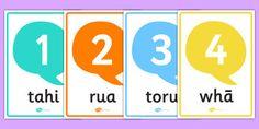 Numbers Posters Te Reo Māori - nz, new zealand, numbers, posters… New Number, Interactive Activities, Classroom Displays, Teaching Resources, Lesson Plans, New Zealand, Curriculum, Numbers, Preschool