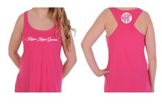 Greek Monogram on back of Kappa Kappa Gamma Tank Top. Love this tank with its flare style and racer style back. Great for yoga, the gym, shorts or poolside. Available in X-small. #kappakappagamma #kappa #tanktop #greek #sorority #greekgift #summer #mdsororitygifts
