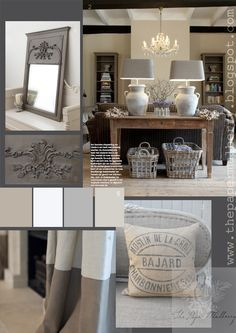 grain sacks, vintage linen and French styled mirror in a stunning grey wash - love the chunky table lamps - The Paper Mulberry: Essentially French!