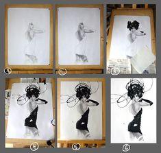 Процесс создания графической работы. Карандаш, гуашь, акрил. Art by Marina Khlebnikova. #work_in_progress