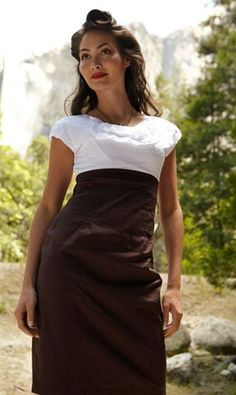 White Ruffled Scoop Neck Dress with Brown Pencil Skirt