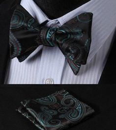 Mens Pre-Tied Bow Tie Cream Pink Green Woven Floral Paisley Jacquard Silk Blend