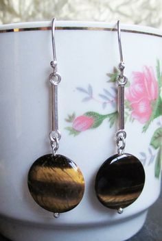 New earring model Tornasol. Silver 950 and natural stone Ojo de Tigre. # HandMade
