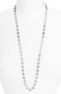 http://shefinds.shopstyle.com: Tory Burch Mini Clover Chain Necklace Silver