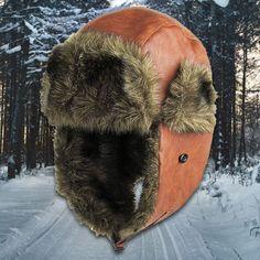 f882c6a2ecec2 Caramel Vegan Leather Vegan Fur Ushanka Aviator Eskimo Trapper Hat
