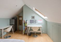 Medfield Street, London — The Modern House Estate Agents: Architect-Designed Property For Sale in London and the UK Loft Conversion Uk, Small Loft Bedroom, Attic Bedroom Small, Home Office Design, Bedroom Design, House Extension Design, House, Slanted Wall Bedroom, Home Decor